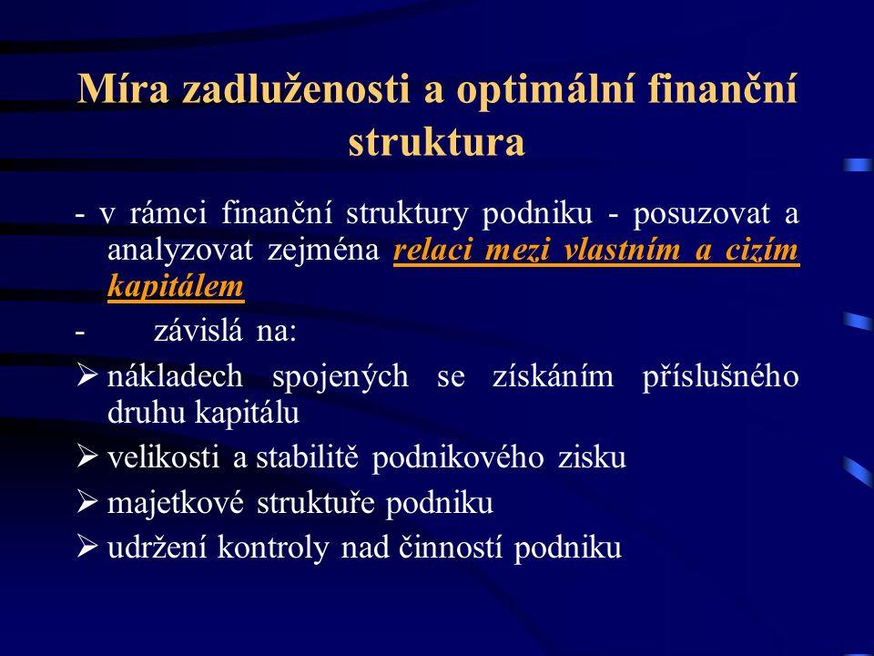 Míra zadluženosti a optimální finanční struktura - v rámci finanční struktury podniku - posuzovat a analyzovat zejména relaci mezi vlastním a cizím kapitálem - závislá na:  nákladech spojených se získáním příslušného druhu kapitálu  velikosti a stabilitě podnikového zisku  majetkové struktuře podniku  udržení kontroly nad činností podniku