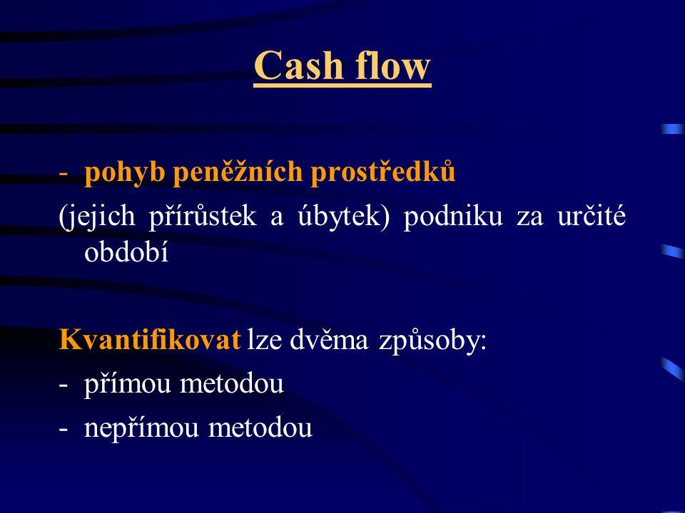Cash flow -pohyb peněžních prostředků (jejich přírůstek a úbytek) podniku za určité období Kvantifikovat lze dvěma způsoby: -přímou metodou -nepřímou metodou