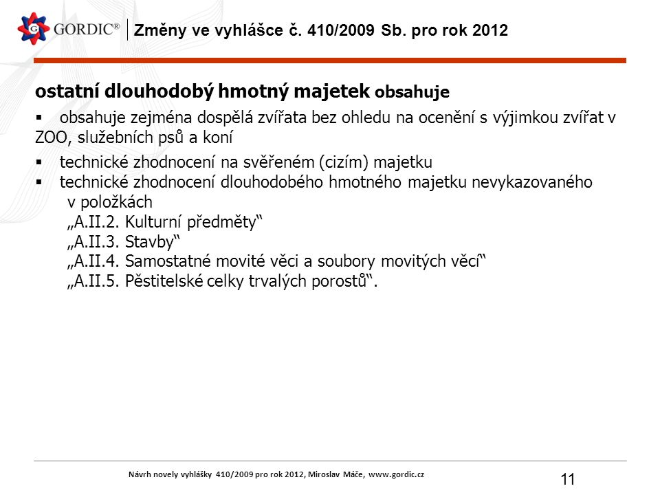 Návrh novely vyhlášky 410/2009 pro rok 2012, Miroslav Máče, www.gordic.cz 11 Změny ve vyhlášce č. 410/2009 Sb. pro rok 2012 ostatní dlouhodobý hmotný