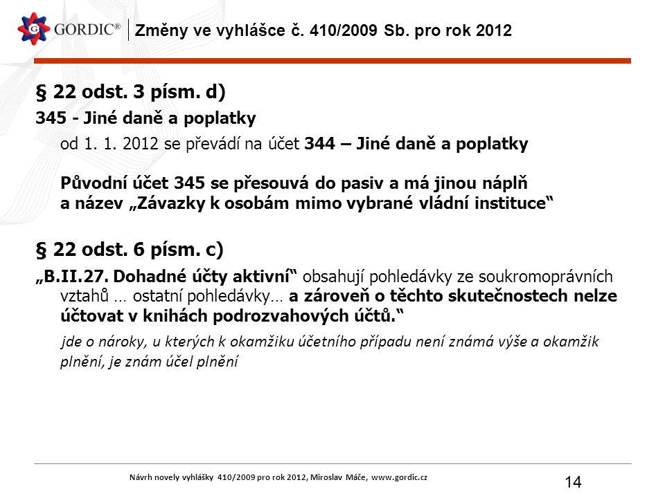 Návrh novely vyhlášky 410/2009 pro rok 2012, Miroslav Máče, www.gordic.cz 14 Změny ve vyhlášce č. 410/2009 Sb. pro rok 2012 § 22 odst. 3 písm. d) 345