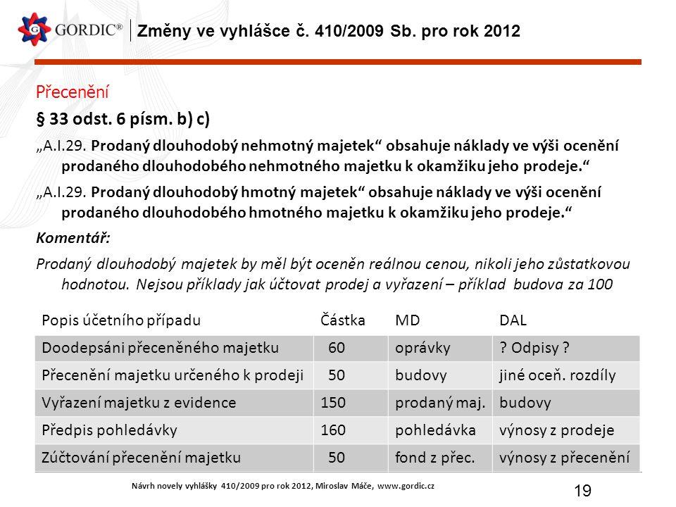 Návrh novely vyhlášky 410/2009 pro rok 2012, Miroslav Máče, www.gordic.cz 19 Změny ve vyhlášce č. 410/2009 Sb. pro rok 2012 Přecenění § 33 odst. 6 pís