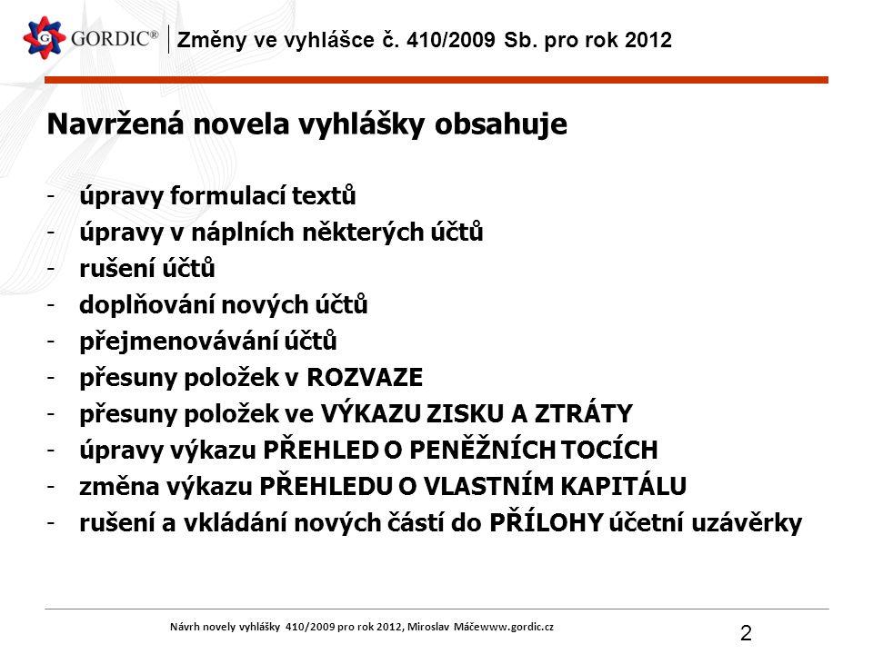 Návrh novely vyhlášky 410/2009 pro rok 2012, Miroslav Máčewww.gordic.cz 2 Změny ve vyhlášce č. 410/2009 Sb. pro rok 2012 Navržená novela vyhlášky obsa