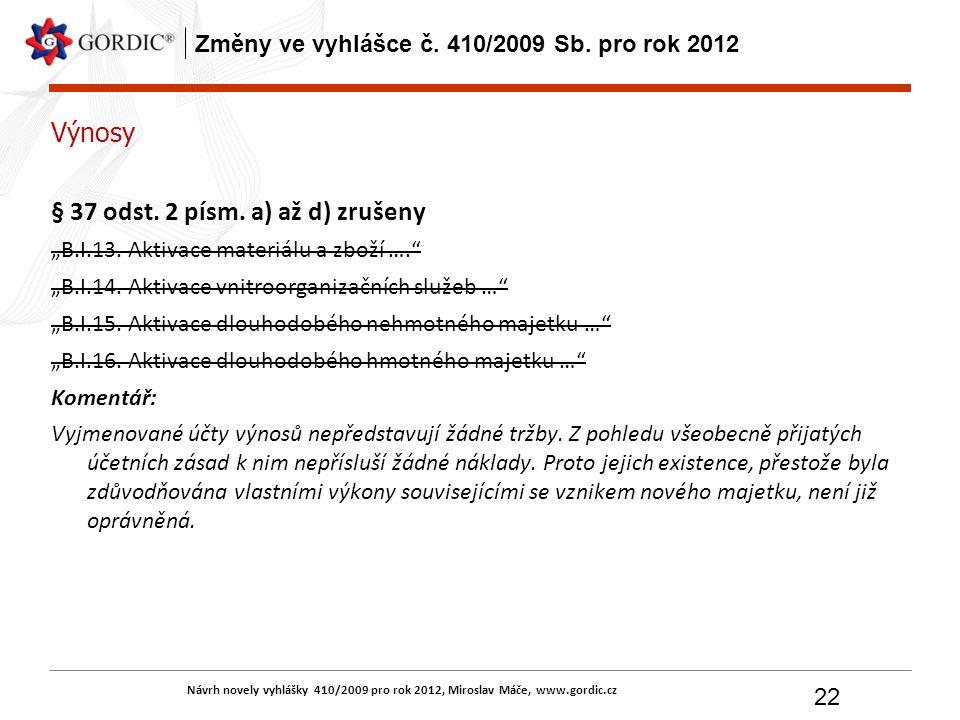 Návrh novely vyhlášky 410/2009 pro rok 2012, Miroslav Máče, www.gordic.cz 22 Změny ve vyhlášce č. 410/2009 Sb. pro rok 2012 Výnosy § 37 odst. 2 písm.