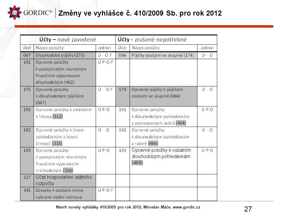 Návrh novely vyhlášky 410/2009 pro rok 2012, Miroslav Máče, www.gordic.cz 27 Změny ve vyhlášce č. 410/2009 Sb. pro rok 2012