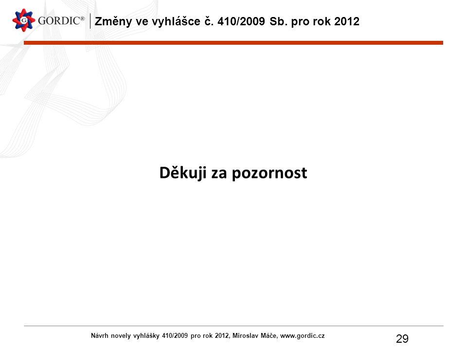 Návrh novely vyhlášky 410/2009 pro rok 2012, Miroslav Máče, www.gordic.cz 29 Změny ve vyhlášce č. 410/2009 Sb. pro rok 2012 Děkuji za pozornost