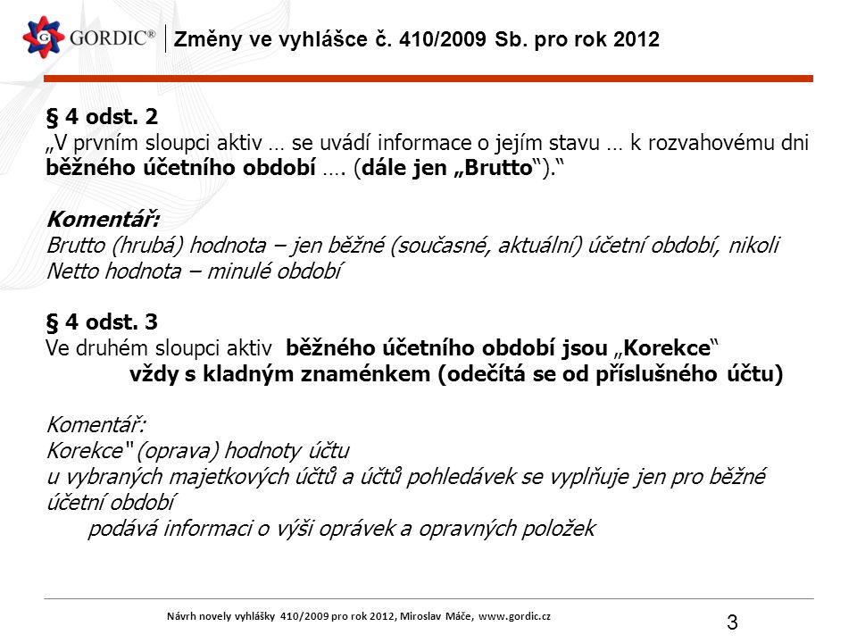 """Návrh novely vyhlášky 410/2009 pro rok 2012, Miroslav Máče, www.gordic.cz 3 Změny ve vyhlášce č. 410/2009 Sb. pro rok 2012 § 4 odst. 2 """"V prvním sloup"""
