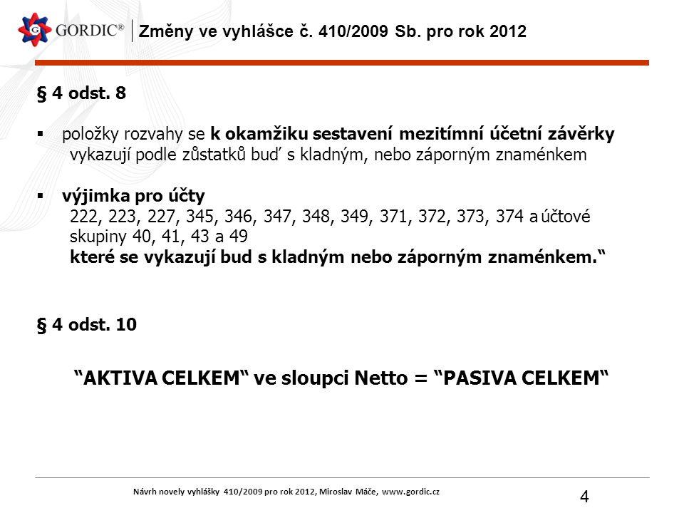 Návrh novely vyhlášky 410/2009 pro rok 2012, Miroslav Máče, www.gordic.cz 4 Změny ve vyhlášce č. 410/2009 Sb. pro rok 2012 § 4 odst. 8  položky rozva