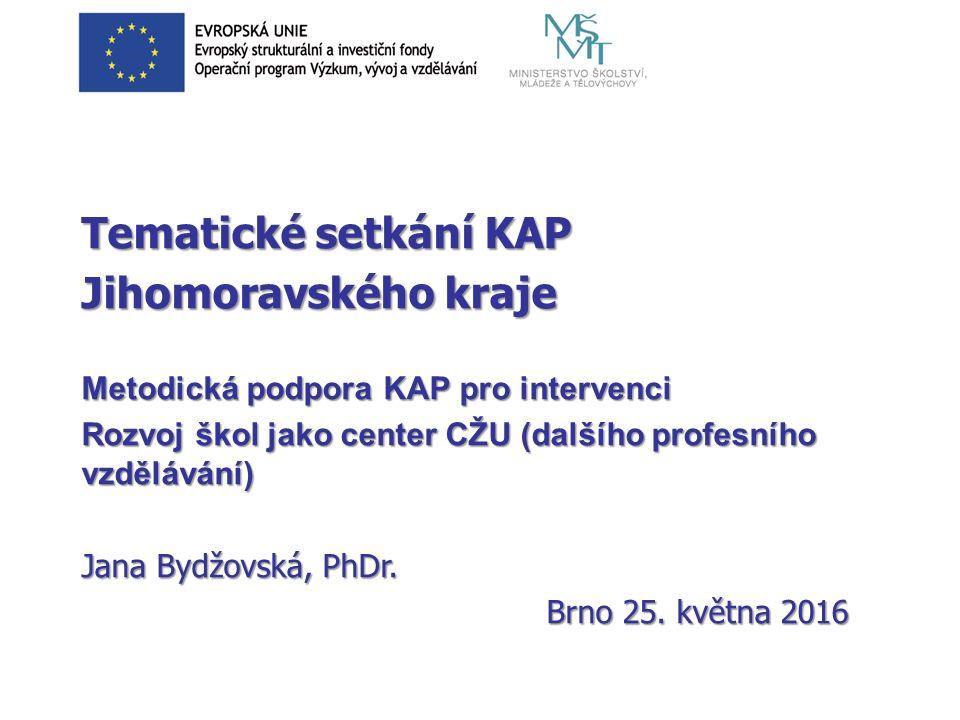 Tematické setkání KAP Jihomoravského kraje Metodická podpora KAP pro intervenci Rozvoj škol jako center CŽU (dalšího profesního vzdělávání) Jana Bydžovská, PhDr.