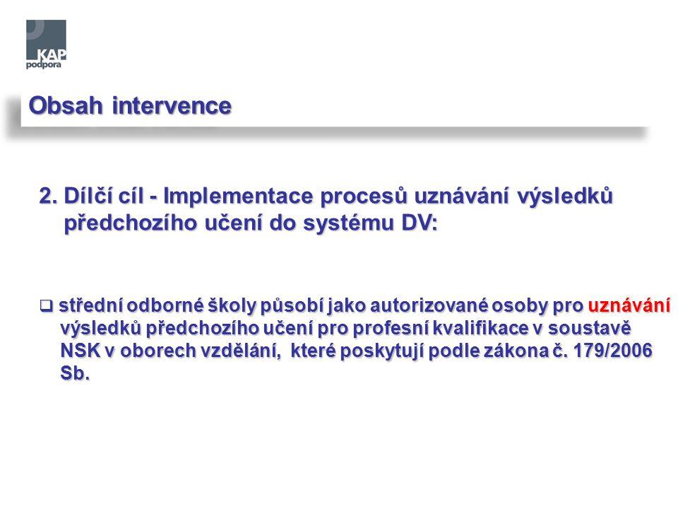 Obsah intervence 2. Dílčí cíl - Implementace procesů uznávání výsledků předchozího učení do systému DV: předchozího učení do systému DV:  střední odb