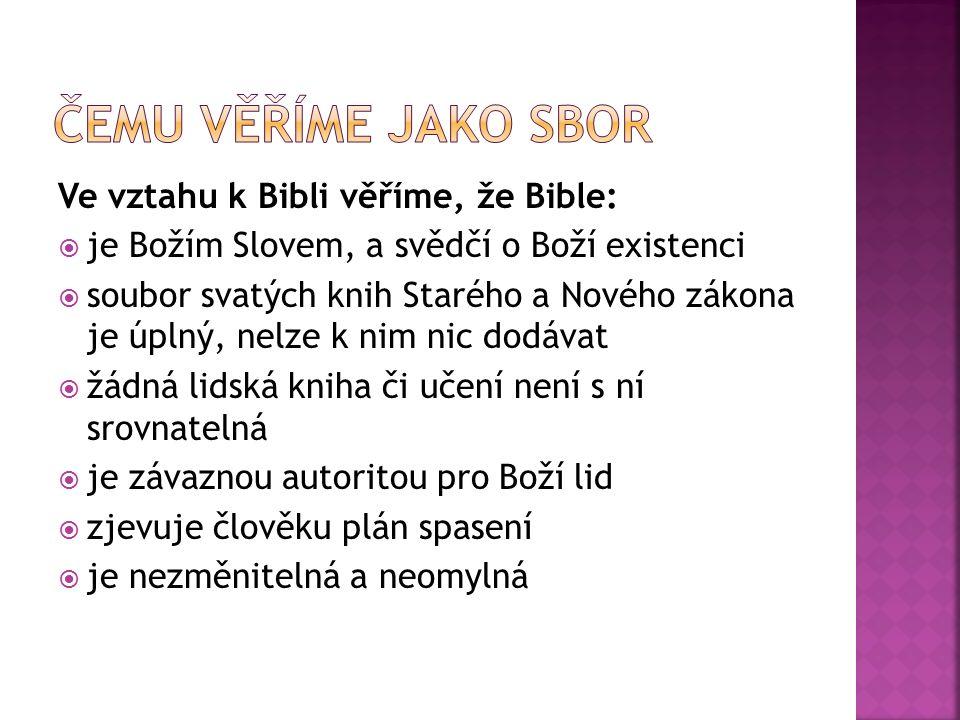 Ve vztahu k Bibli věříme, že Bible:  je Božím Slovem, a svědčí o Boží existenci  soubor svatých knih Starého a Nového zákona je úplný, nelze k nim n
