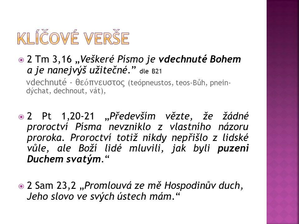 """ 2 Tm 3,16 """"Veškeré Písmo je vdechnuté Bohem a je nanejvýš užitečné. dle B21 vdechnuté - θε ό πνευστος (teópneustos, teos-Bůh, pnein- dýchat, dechnout, vát),  2 Pt 1,20-21 """"Především vězte, že žádné proroctví Písma nevzniklo z vlastního názoru proroka."""