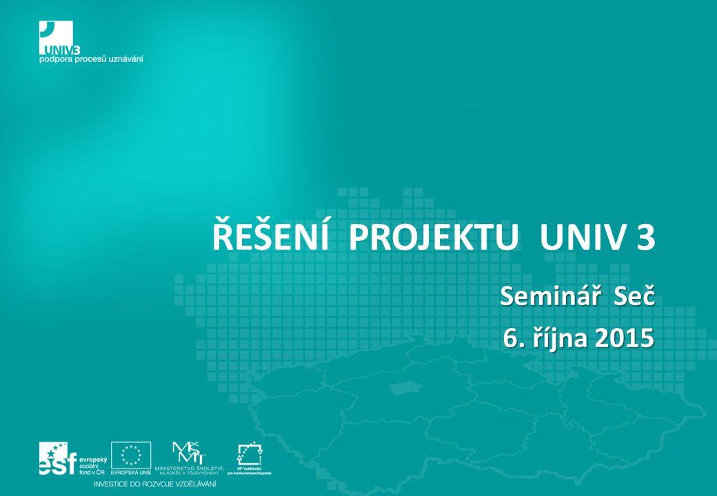 ŘEŠENÍ PROJEKTU UNIV 3 Seminář Seč 6. října 2015