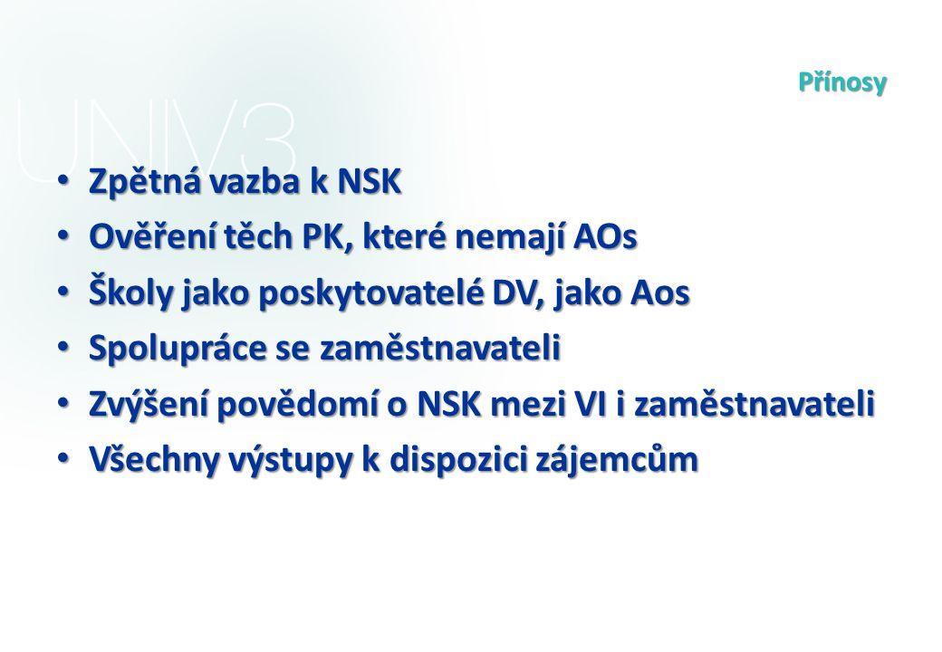 Přínosy Zpětná vazba k NSK Zpětná vazba k NSK Ověření těch PK, které nemají AOs Ověření těch PK, které nemají AOs Školy jako poskytovatelé DV, jako Ao