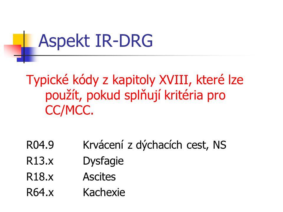 Aspekt IR-DRG Typické kódy z kapitoly XVIII, které lze použít, pokud splňují kritéria pro CC/MCC. R04.9 Krvácení z dýchacích cest, NS R13.xDysfagie R1