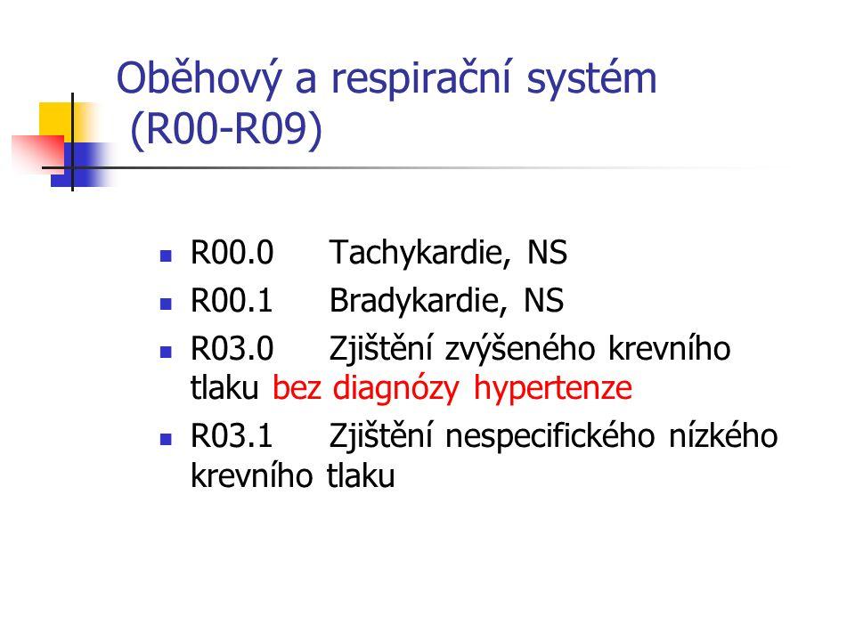 Oběhový a respirační systém (R00-R09) R00.0Tachykardie, NS R00.1Bradykardie, NS R03.0Zjištění zvýšeného krevního tlaku bez diagnózy hypertenze R03.1Zjištění nespecifického nízkého krevního tlaku