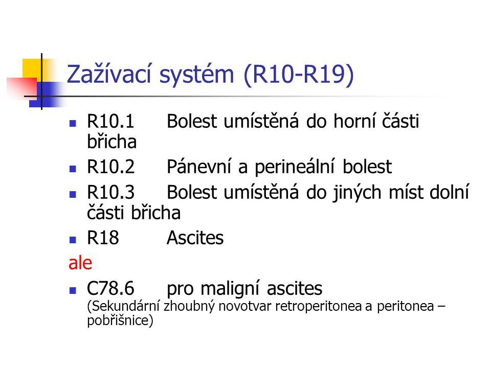 Zažívací systém (R10-R19) R10.1Bolest umístěná do horní části břicha R10.2Pánevní a perineální bolest R10.3Bolest umístěná do jiných míst dolní části břicha R18Ascites ale C78.6pro maligní ascites (Sekundární zhoubný novotvar retroperitonea a peritonea – pobřišnice)