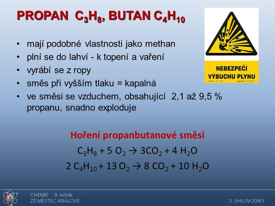 PROPAN C 3 H 8, BUTAN C 4 H 10 mají podobné vlastnosti jako methan plní se do lahví - k topení a vaření vyrábí se z ropy směs při vyšším tlaku = kapal