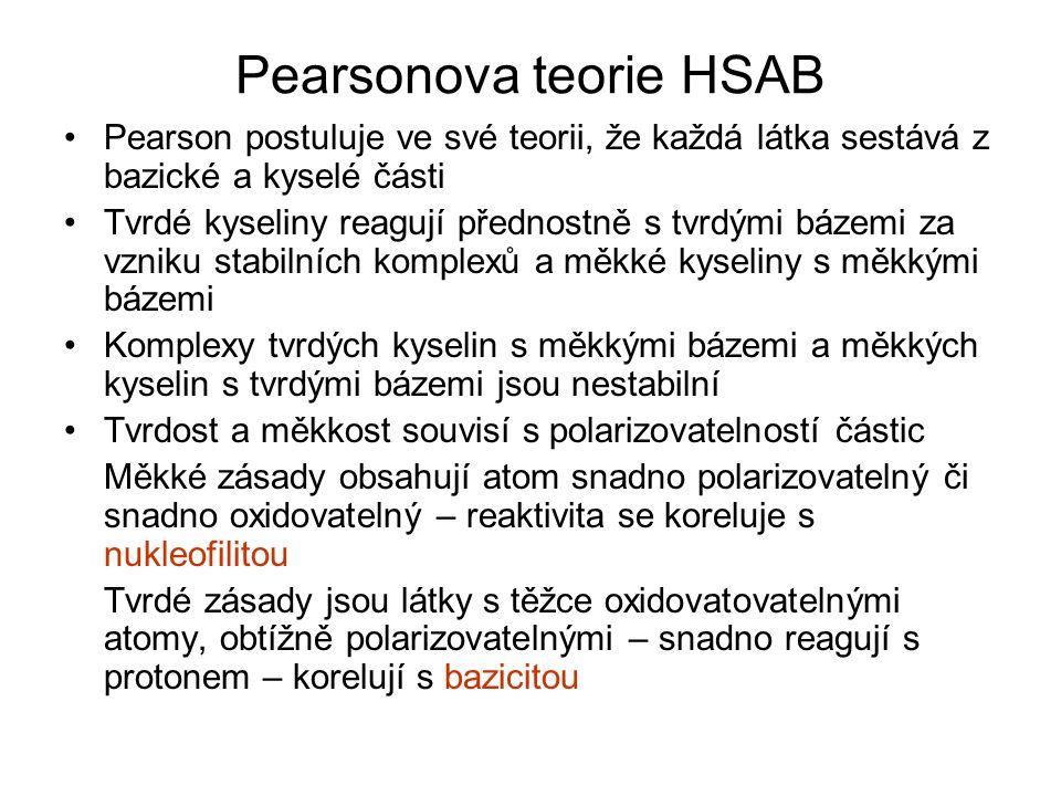 Pearsonova teorie HSAB Pearson postuluje ve své teorii, že každá látka sestává z bazické a kyselé části Tvrdé kyseliny reagují přednostně s tvrdými bá