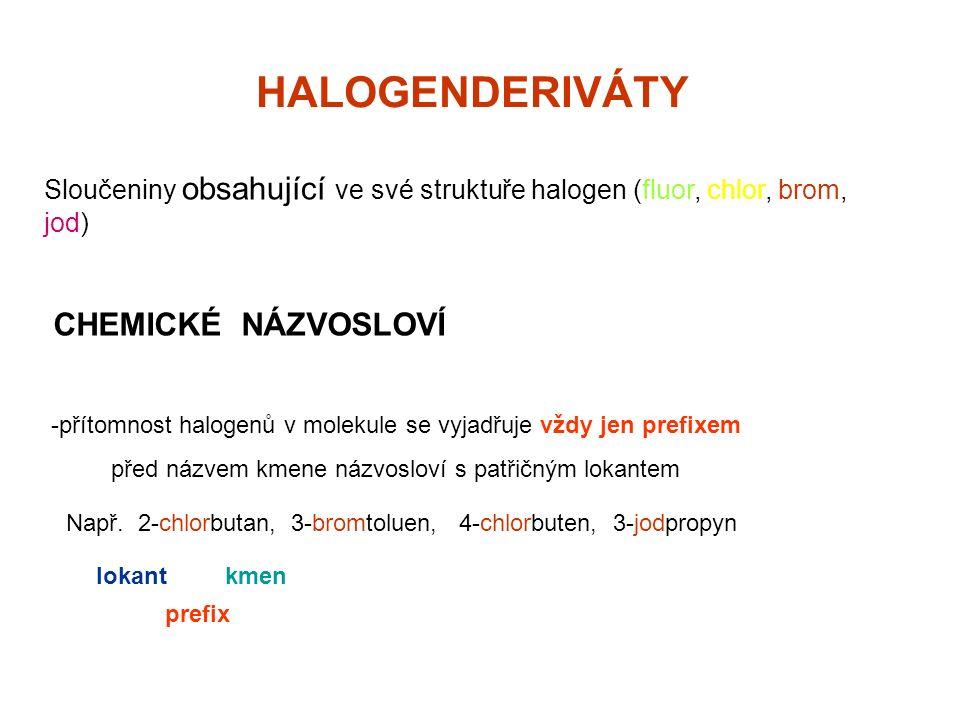 Halogenderiváty dosud přetrvává triviální názvosloví používané zejména v laboratorní praxi a v průmyslu specifické pojmenování dihalogenderivátů