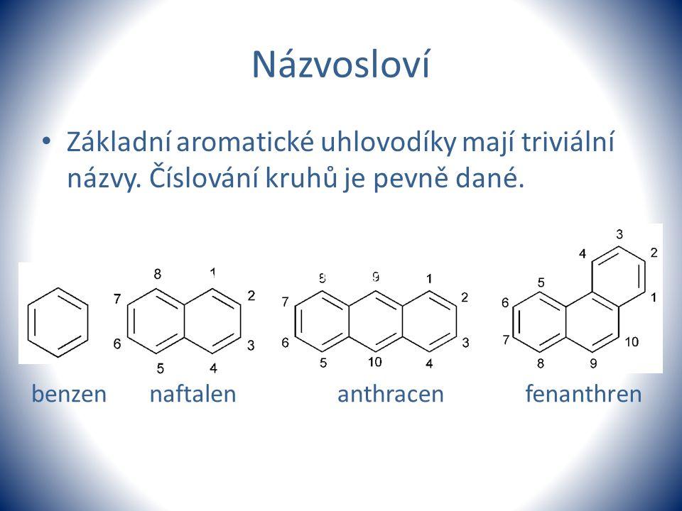 Názvosloví Základní aromatické uhlovodíky mají triviální názvy. Číslování kruhů je pevně dané. benzennaftalenanthracenfenanthren Vysvětlíme žákům prav
