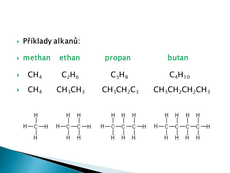  Příklady alkanů:  methan ethan propan butan  CH 4 C 2 H 6 C 3 H 8 C 4 H 10  CH 4 CH 3 CH 3 CH 3 CH 2 C 3 CH 3 CH 2 CH 2 CH 3
