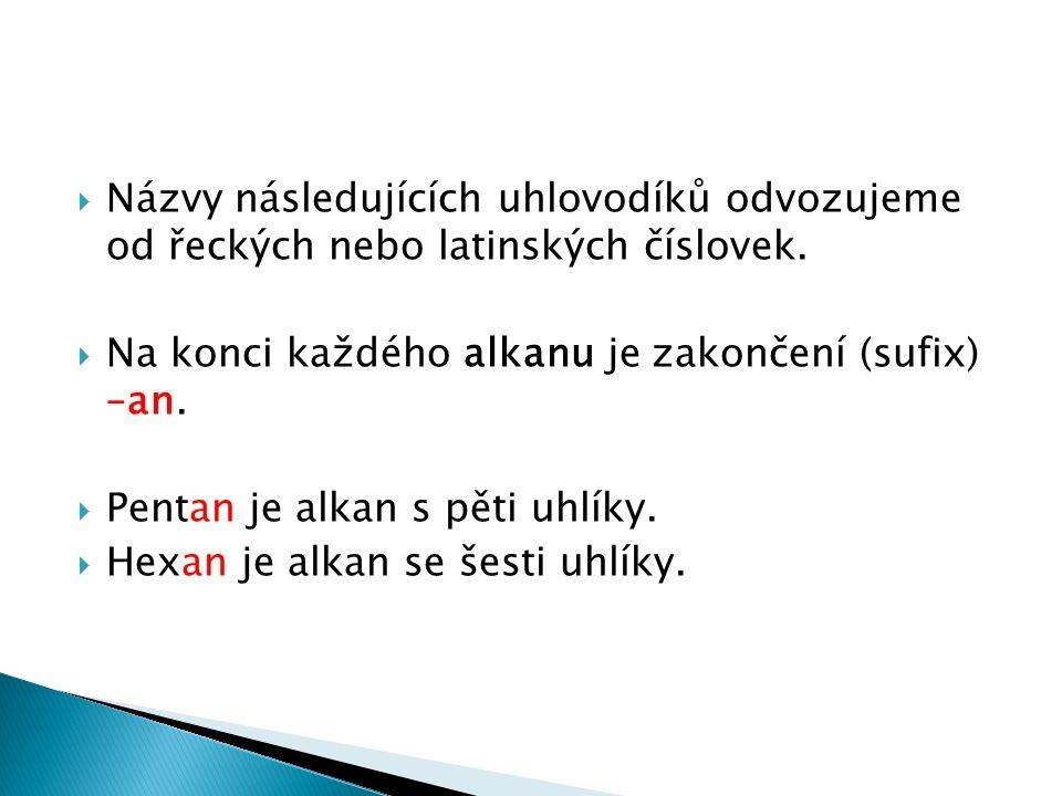  Názvy následujících uhlovodíků odvozujeme od řeckých nebo latinských číslovek.