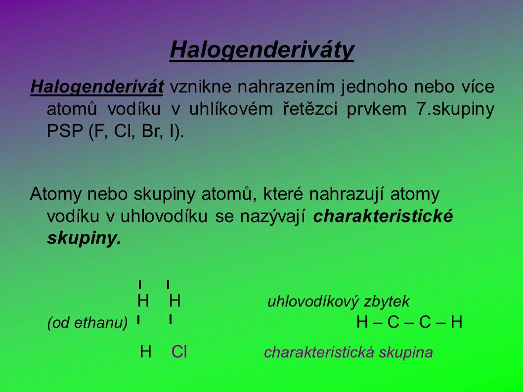 Halogenderiváty Halogenderivát vznikne nahrazením jednoho nebo více atomů vodíku v uhlíkovém řetězci prvkem 7.skupiny PSP (F, Cl, Br, I).