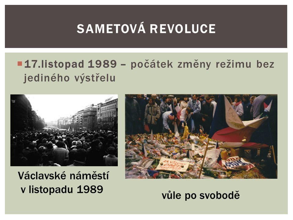  17.listopad 1989 – počátek změny režimu bez jediného výstřelu SAMETOVÁ REVOLUCE Václavské náměstí v listopadu 1989 vůle po svobodě