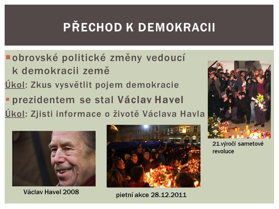  po sametové revoluci se zvětšovaly rozpory mezi slovenskými a českými politiky  1.ledna 1993 došlo k rozdělení na dva samostatné státy  vznikla Česká republika a Slovenská republika Československá federativní republika Česko-slovenská federatívna republika Česká a Slovenská Federativní Republika (ČSFR) ROZDĚLENÍ ČESKOSLOVENSKA