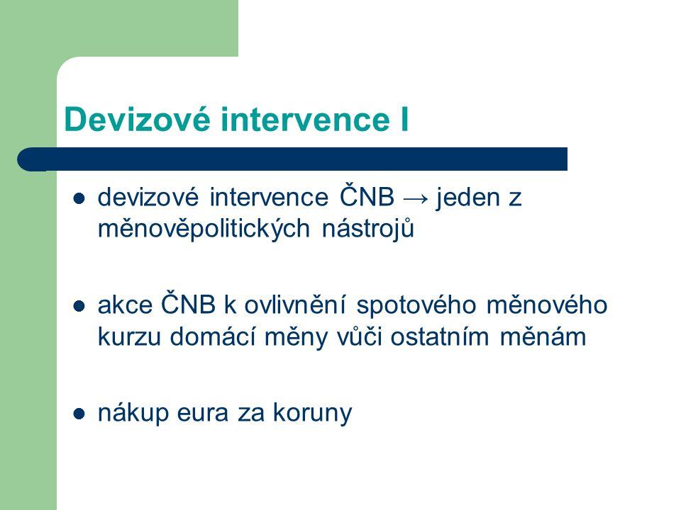 Devizové intervence I devizové intervence ČNB → jeden z měnověpolitických nástrojů akce ČNB k ovlivnění spotového měnového kurzu domácí měny vůči ostatním měnám nákup eura za koruny