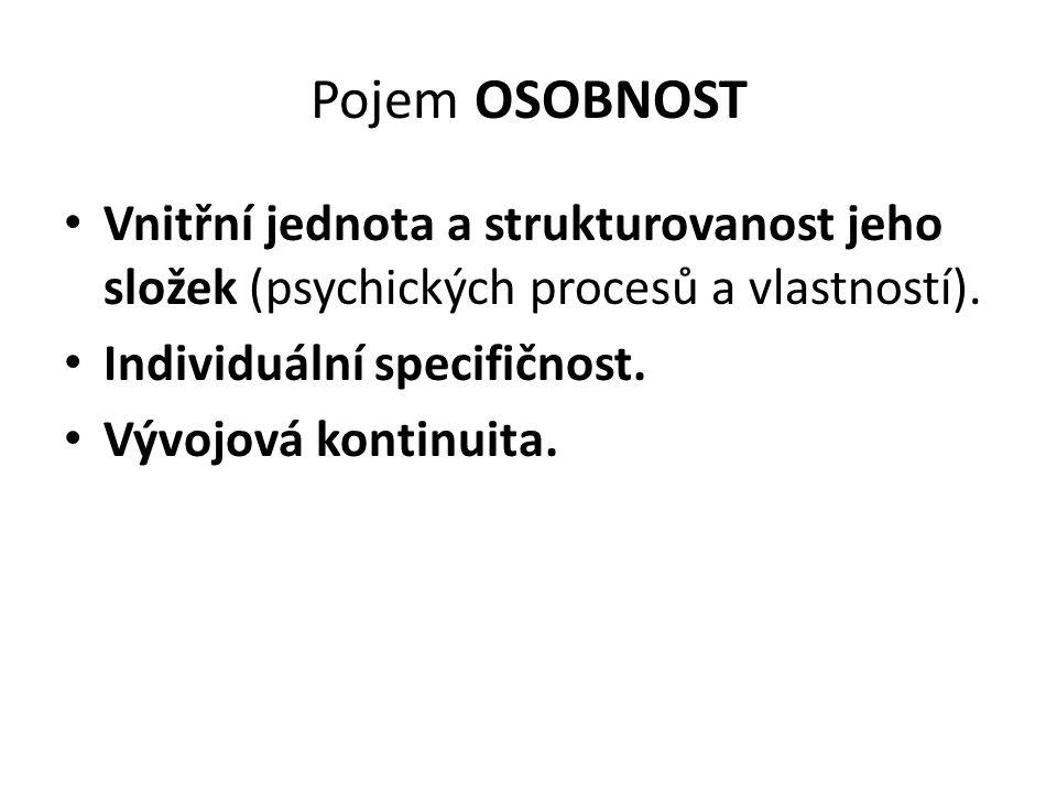 Pojem OSOBNOST Vnitřní jednota a strukturovanost jeho složek (psychických procesů a vlastností).