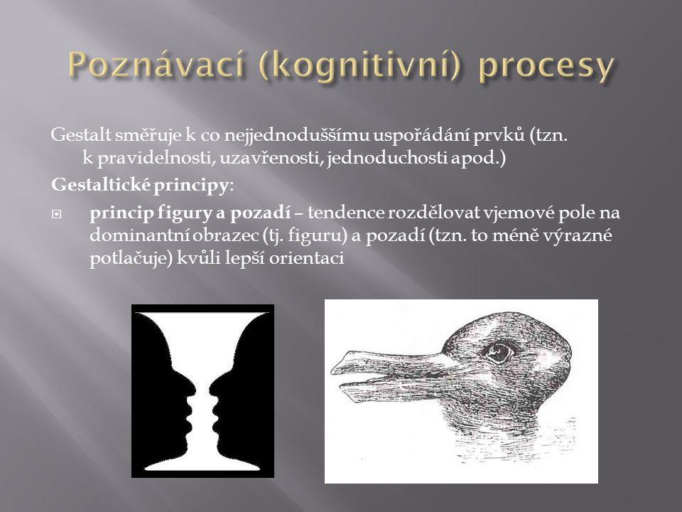 Gestalt směřuje k co nejjednoduššímu uspořádání prvků (tzn.