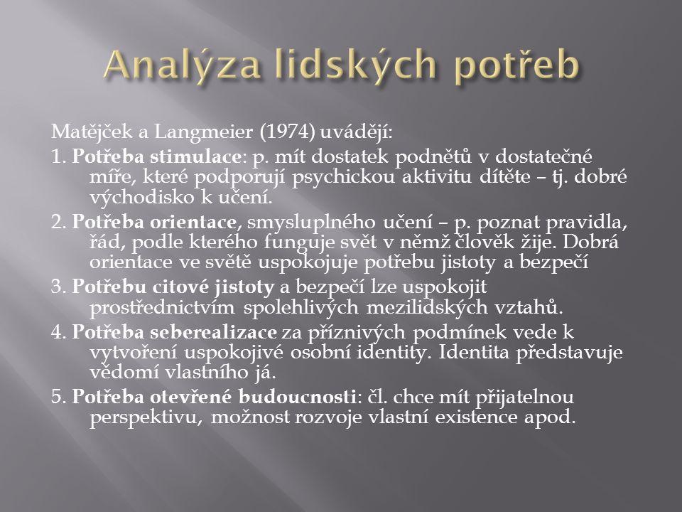 Matějček a Langmeier (1974) uvádějí: 1. Potřeba stimulace : p.
