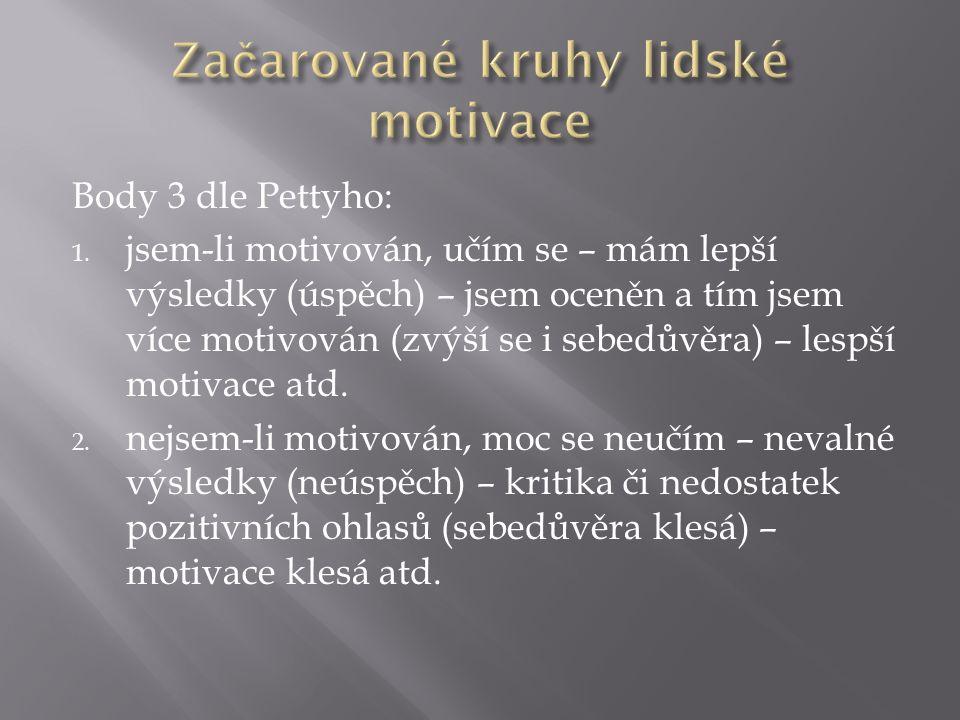 Body 3 dle Pettyho: 1. jsem-li motivován, učím se – mám lepší výsledky (úspěch) – jsem oceněn a tím jsem více motivován (zvýší se i sebedůvěra) – lesp