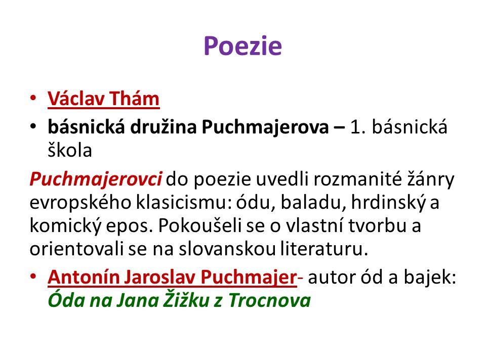Poezie Václav Thám básnická družina Puchmajerova – 1.