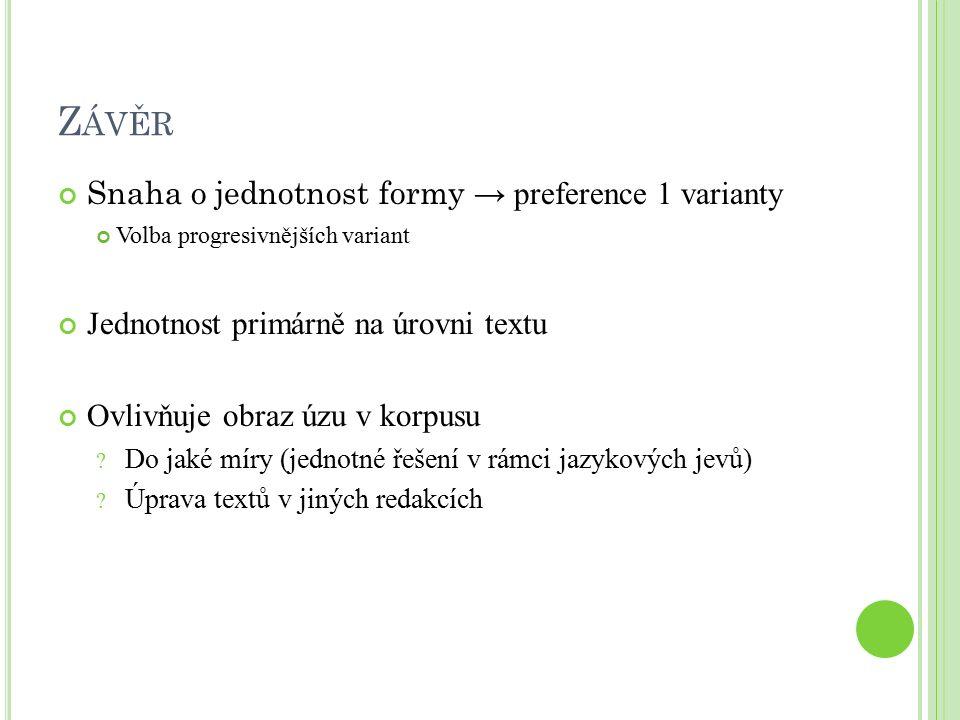 Z ÁVĚR Snaha o jednotnost formy → preference 1 varianty Volba progresivnějších variant Jednotnost primárně na úrovni textu Ovlivňuje obraz úzu v korpusu .