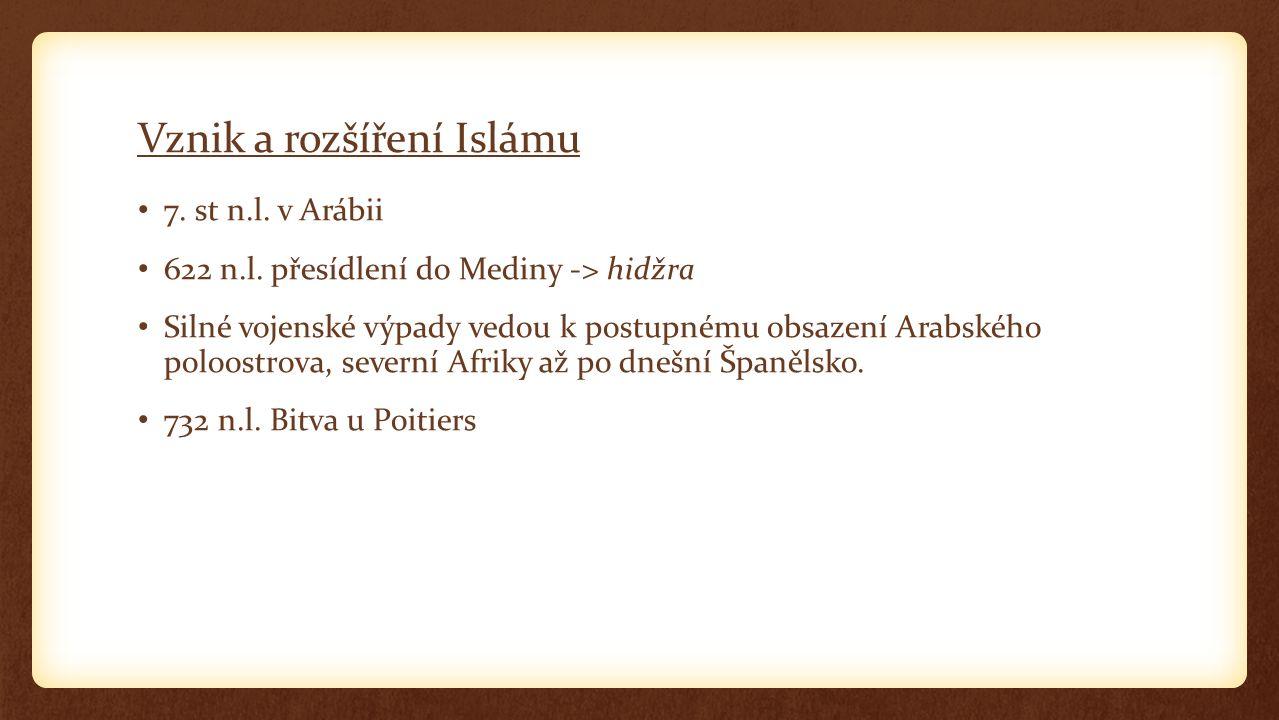 Vznik a rozšíření Islámu 7. st n.l. v Arábii 622 n.l.