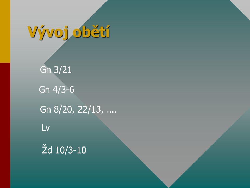 Vývoj obětí Gn 3/21 Gn 4/3-6 Gn 8/20, 22/13, …. Lv Žd 10/3-10