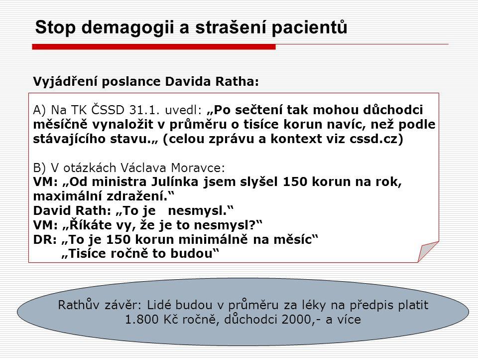 Stop demagogii a strašení pacientů Vyjádření poslance Davida Ratha: A)Na TK ČSSD 31.1.