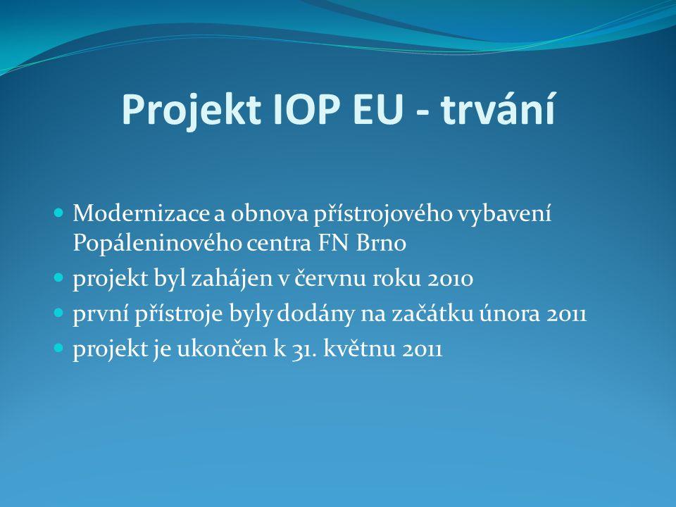 Projekt IOP EU - trvání Modernizace a obnova přístrojového vybavení Popáleninového centra FN Brno projekt byl zahájen v červnu roku 2010 první přístroje byly dodány na začátku února 2011 projekt je ukončen k 31.