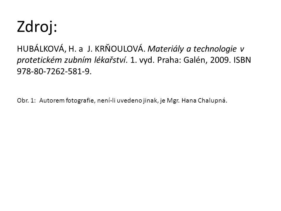Zdroj: HUBÁLKOVÁ, H. a J. KRŇOULOVÁ. Materiály a technologie v protetickém zubním lékařství.
