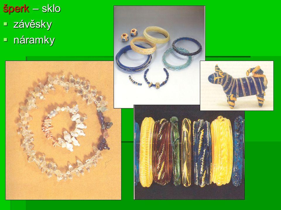 šperk – sklo  závěsky  náramky