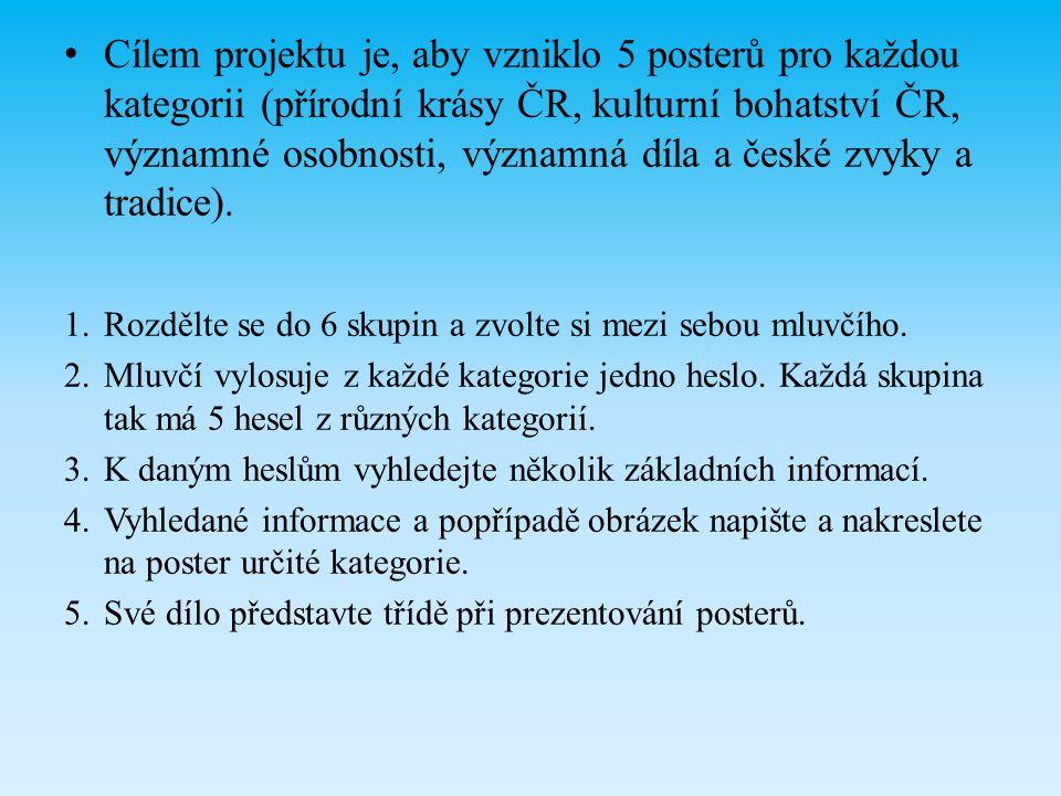 Cílem projektu je, aby vzniklo 5 posterů pro každou kategorii (přírodní krásy ČR, kulturní bohatství ČR, významné osobnosti, významná díla a české zvyky a tradice).