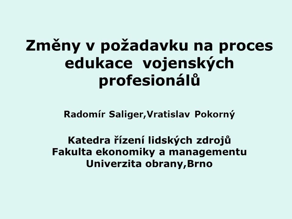 Změny v požadavku na proces edukace vojenských profesionálů Radomír Saliger,Vratislav Pokorný Katedra řízení lidských zdrojů Fakulta ekonomiky a managementu Univerzita obrany,Brno