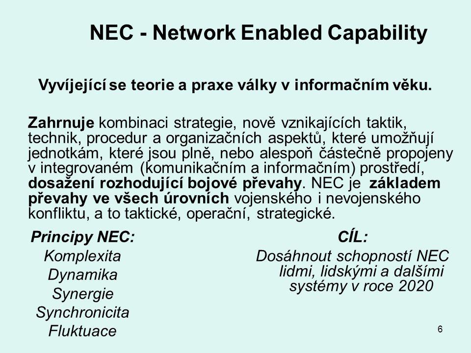 6 NEC - Network Enabled Capability Vyvíjející se teorie a praxe války v informačním věku.