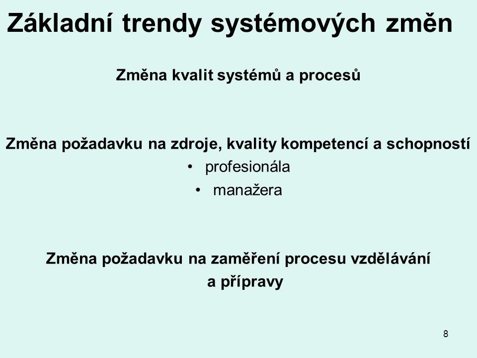 8 Základní trendy systémových změn Změna kvalit systémů a procesů Změna požadavku na zdroje, kvality kompetencí a schopností profesionála manažera Změna požadavku na zaměření procesu vzdělávání a přípravy
