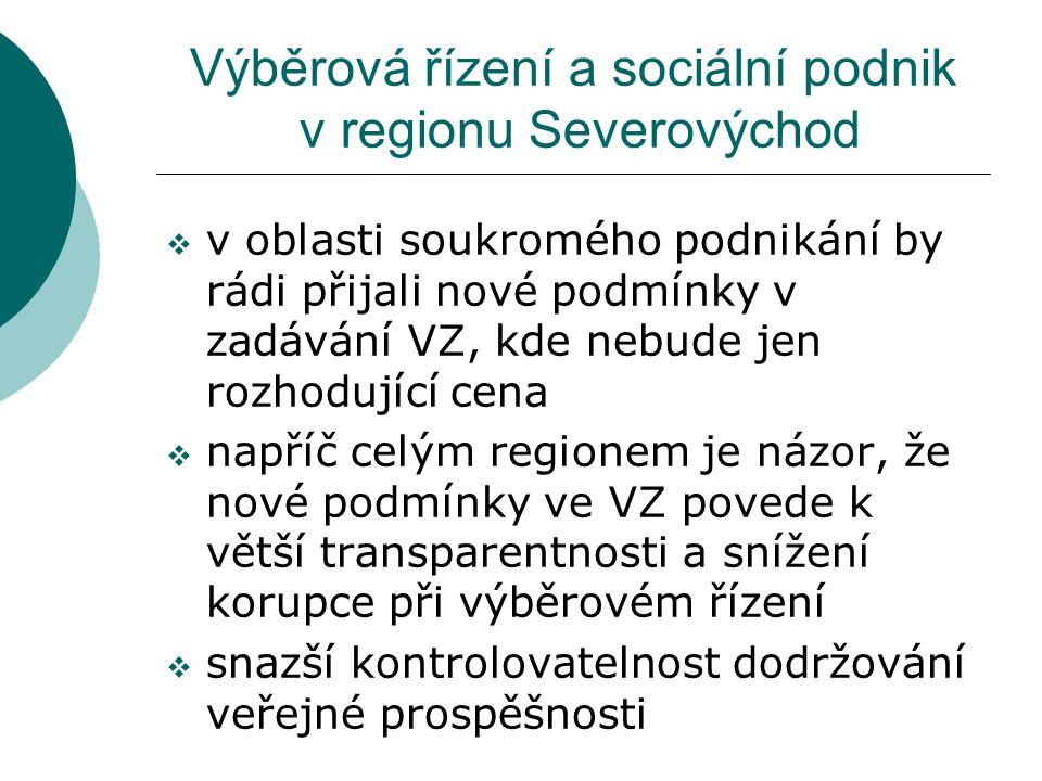 Výběrová řízení a sociální podnik v regionu Severovýchod  v oblasti soukromého podnikání by rádi přijali nové podmínky v zadávání VZ, kde nebude jen rozhodující cena  napříč celým regionem je názor, že nové podmínky ve VZ povede k větší transparentnosti a snížení korupce při výběrovém řízení  snazší kontrolovatelnost dodržování veřejné prospěšnosti
