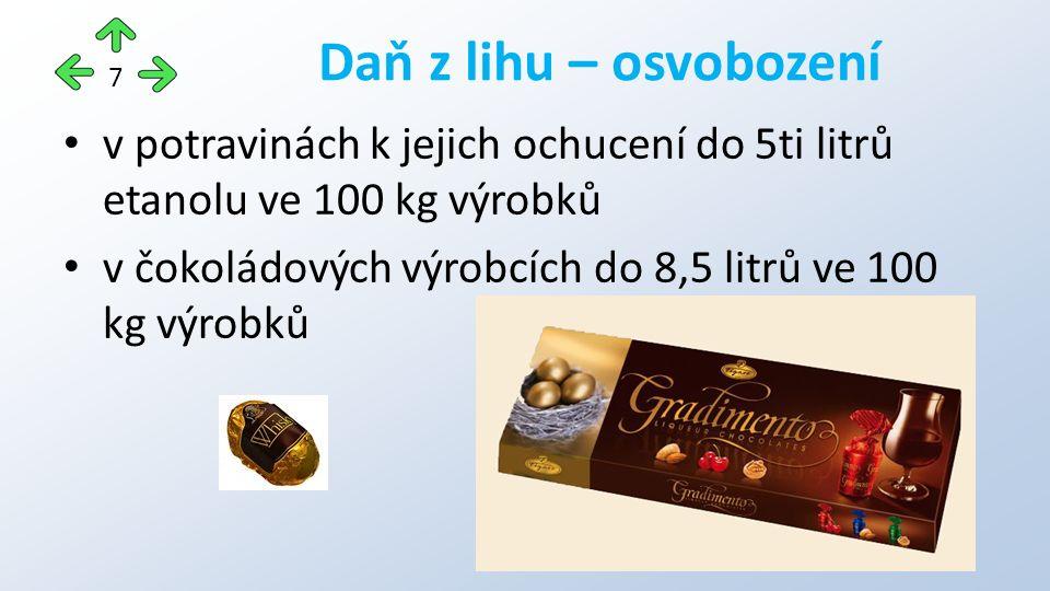 v potravinách k jejich ochucení do 5ti litrů etanolu ve 100 kg výrobků v čokoládových výrobcích do 8,5 litrů ve 100 kg výrobků Daň z lihu – osvobození