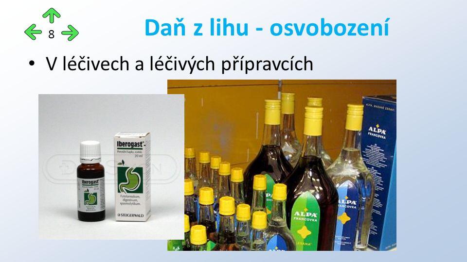 V léčivech a léčivých přípravcích Daň z lihu - osvobození 8
