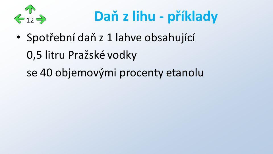 Spotřební daň z 1 lahve obsahující 0,5 litru Pražské vodky se 40 objemovými procenty etanolu Daň z lihu - příklady 12